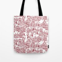 Doctor Who Toile de Jouy | 'Walking Doodle' | Red Tote Bag