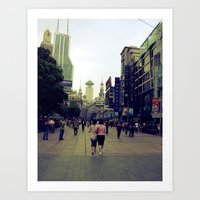 Walking Shanghai Art Print