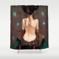Geisha de dos. Shower Curtain