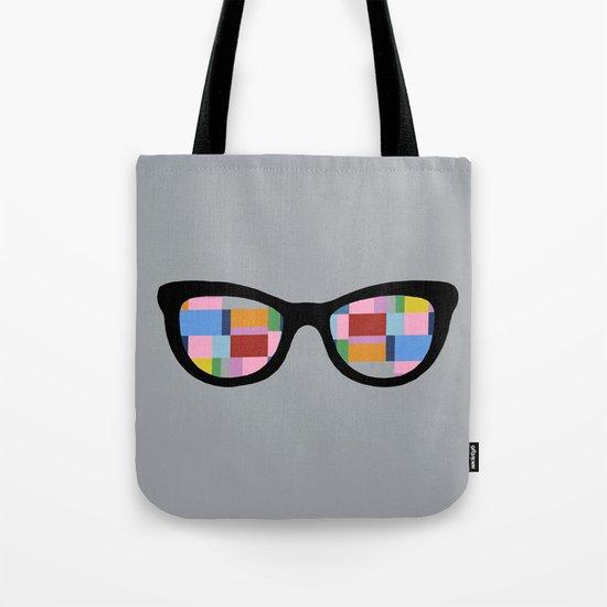 Square Eyes on Grey Tote Bag