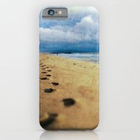 iPhone & iPod Case featuring Footprints in the Sand (California Beach) by spillboard
