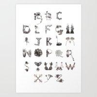 Floral Alphabet  Art Print