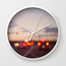 highway at dusk Wall Clock