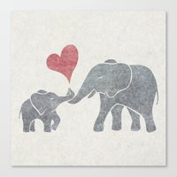 Canvas Print featuring Elephant Hugs by Elephant Trunk Studio