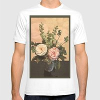 Rose Painting Mens Fitted Tee White SMALL
