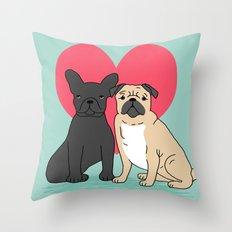 Pug French Bulldog Valen… Throw Pillow