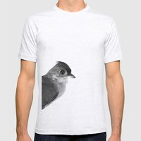 Natural History Bird Photograph - Tufted Titmouse Mens Fitted Tee Ash Grey SMALL