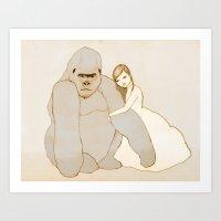 Gorilla and Girl Art Print