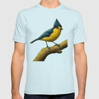 Yellow Tit Mens Fitted Tee Light Blue SMALL