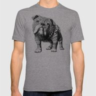 English Bulldog Mens Fitted Tee Tri-Grey SMALL