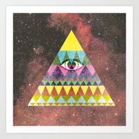 Pyramid in Space. Art Print