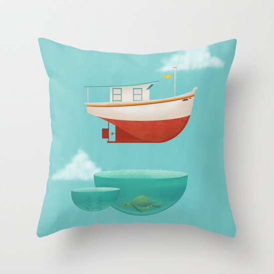 Floating Boat Throw Pillow