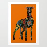 greyhound orange Art Print