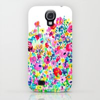 Galaxy S4 Cases featuring Flower Fields Pink by Amy Sia