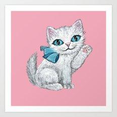 Watercolour kitten on pink Art Print