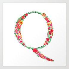 Floral Monogram Letter Q Art Print