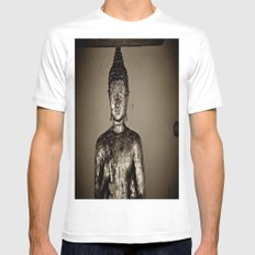 Meditation White SMALL Mens Fitted Tee
