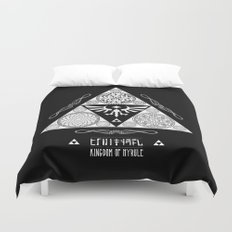 Legend of Zelda Kingdom of Hyrule Crest Letterpress Vector Art Duvet Cover