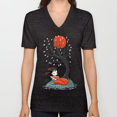 Girl and a Fox 2 Unisex V-Neck