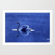 blue swan Art Print