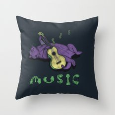 Ukulele Cat Throw Pillow