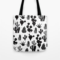 Cactus garden black and white Tote Bag