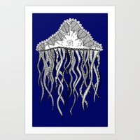 Blue Jellyfish Art Print