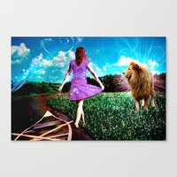 Rivers, Fields & Lions Canvas Print