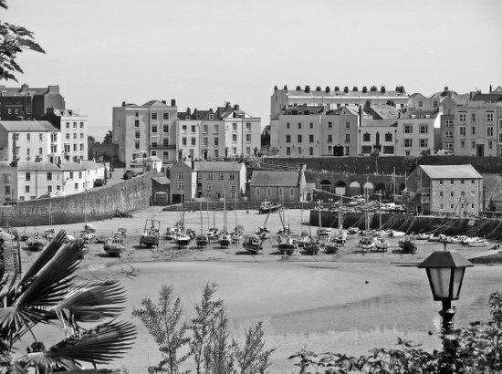 Tenby Harbour. Black+White. Reflection. Art Print