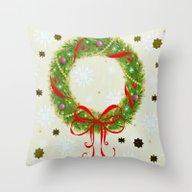 Christmas Wreath Throw Pillow