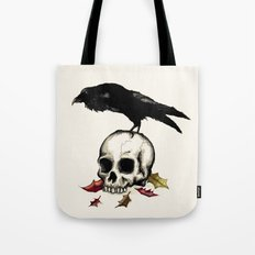 Raven Skull Poe Gothic Crow Tote Bag