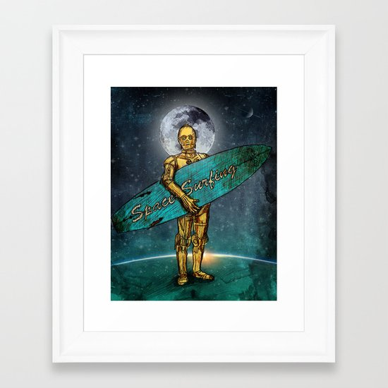 Space Surfer Framed Art Print