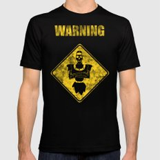 Dragon's Lair Warning Sign Mens Fitted Tee Black SMALL