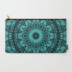 Teal Turquoise Floral Mandala Carry-All Pouch