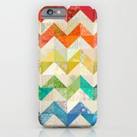 iPhone Cases featuring Chevron Rainbow Quilt by Rachel Caldwell