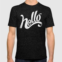 HELLO Mens Fitted Tee Tri-Black SMALL