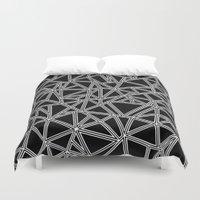 Abstract New White On Bl… Duvet Cover
