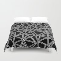 Abstract New White On Bl… Duvet Cover