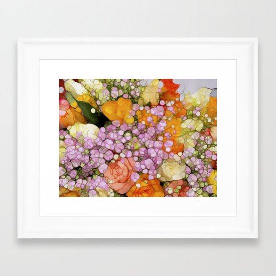 Mosaic Vintage-  Floral Spring Sparkles Framed Art Print