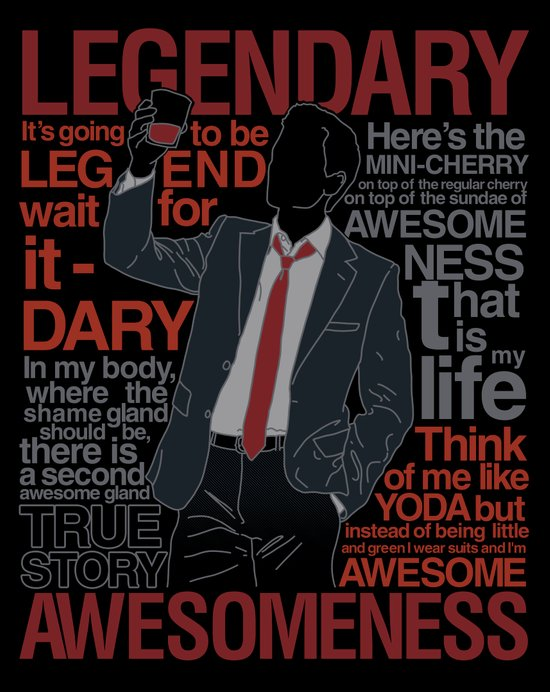 Barney Stinson - Legendary T-shirt of Awesomeness Canvas Print