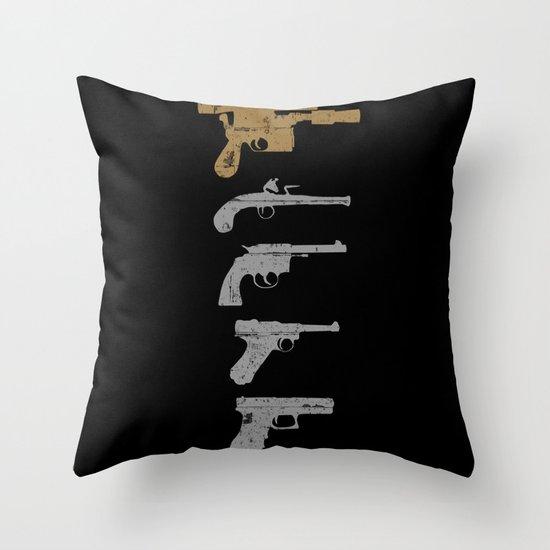 A long time ago with a blaster far, far away... Throw Pillow