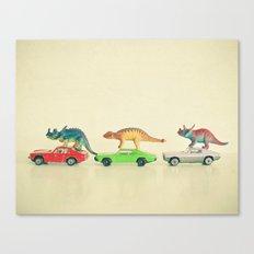Dinosaurs Ride Cars Canvas Print