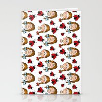 Girls and ladybirds pattern Stationery Cards