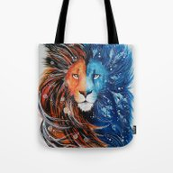 Fire And Ice Lion Tote Bag