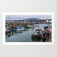 The Busy Harbour Scarborough Art Print
