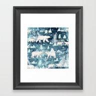 Framed Art Print featuring Ice Bears by Sandra Dieckmann