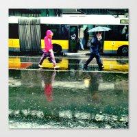 Rain II - Yellow Canvas Print