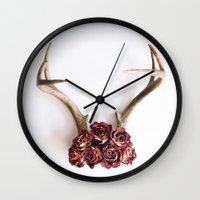 Floral Antlers II Wall Clock