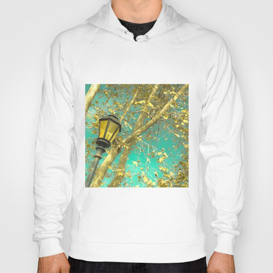 Autumn Gold Leafs in Turquoise Sky  Hoody