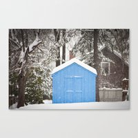 Blue Snow House  Canvas Print